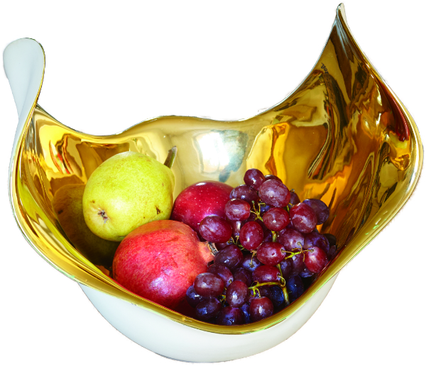 Fruchtschale -freigelstellt-gold-Frucht--
