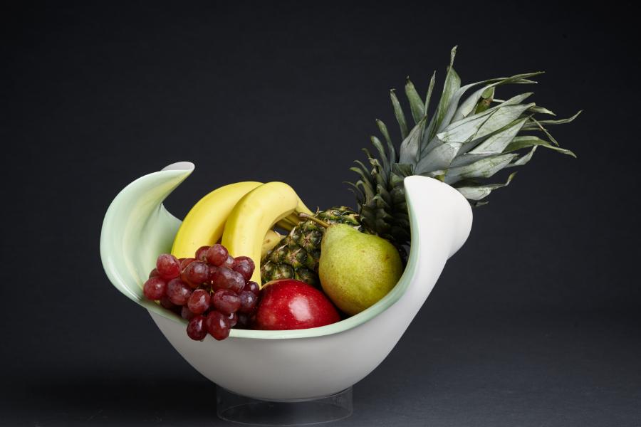 Fruchtschale - grün glasiert